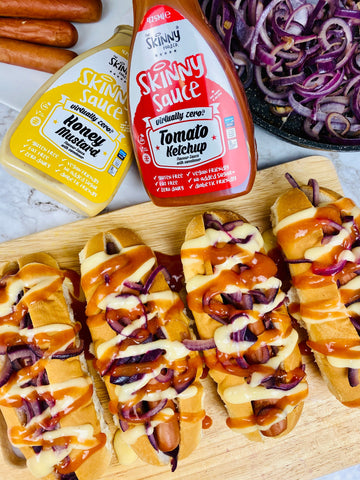 hotdogs with ketchup and honey mustard