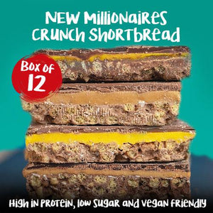 12 x High Protein Low Sugar Millionaire Crunch Shortbreads (4 Flavours) Full Box - theskinnyfoodco