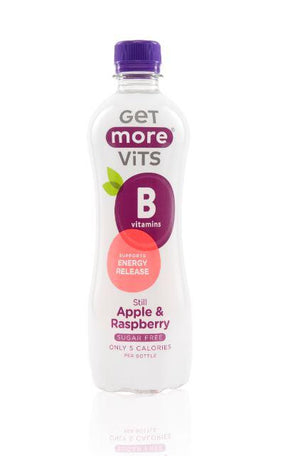 Get More Vits - Apple & Raspberry Vitamin B Drink (330ml Can or 500ml Bottle) - theskinnyfoodco