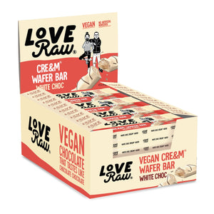 Love Raw - White Chocolate Cre&m Filled Chocolate Wafer Bars (12 x 43g) - theskinnyfoodco