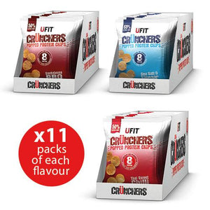 UFIT Crunchers High Protein Crisps Full Case 11 x 35g (3 Flavours Available) - theskinnyfoodco
