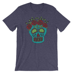 Day of the Dead Turquoise Sugar Skull Heather Midnight Navy Bella Canvas Tee | www.sweetpotatojunction.com