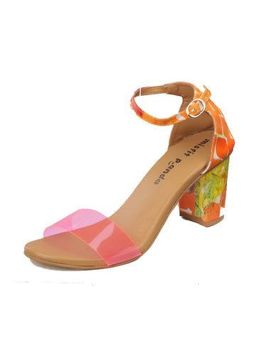 Handpainted Ankle Strap Block Heels