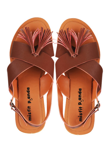 CrossStrap Sandals With Tassel