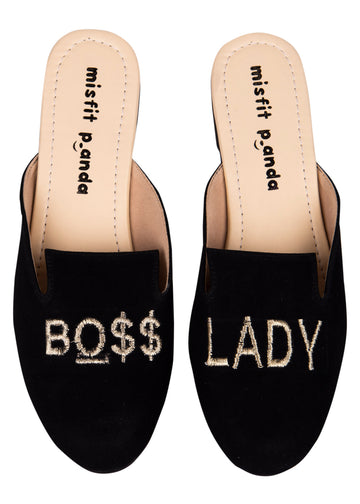 Boss Lady Embroidered Mules