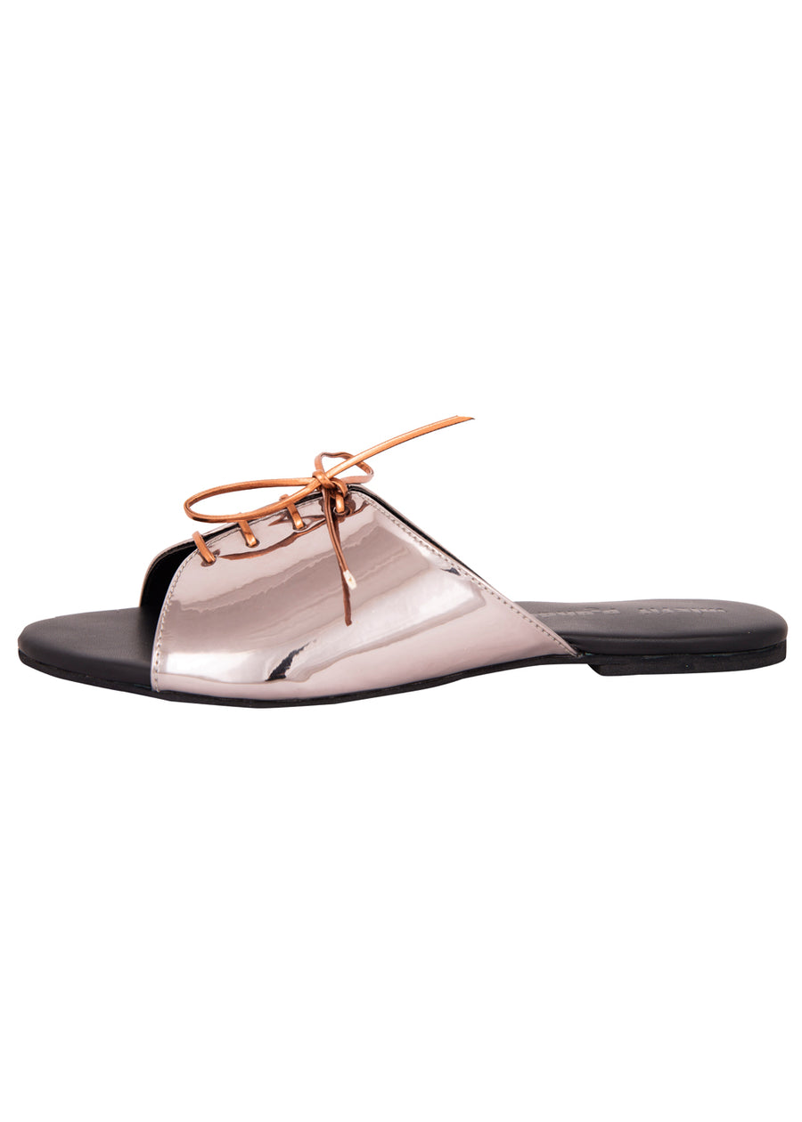 Gunmetal Sliders with tie-up Flats