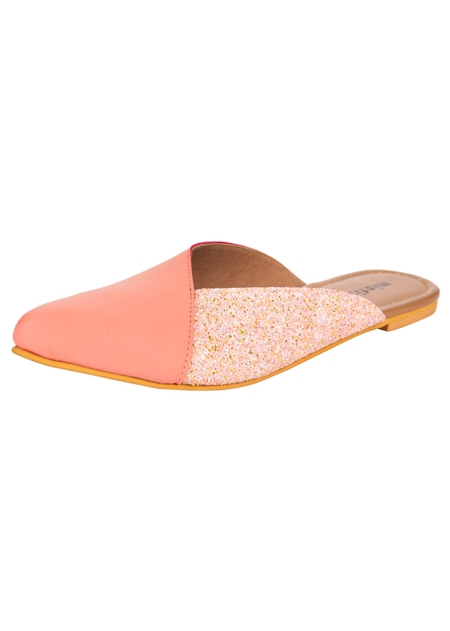 Pink PU with shimmer mules