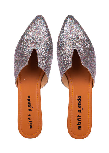 front cut silver shimmer mules