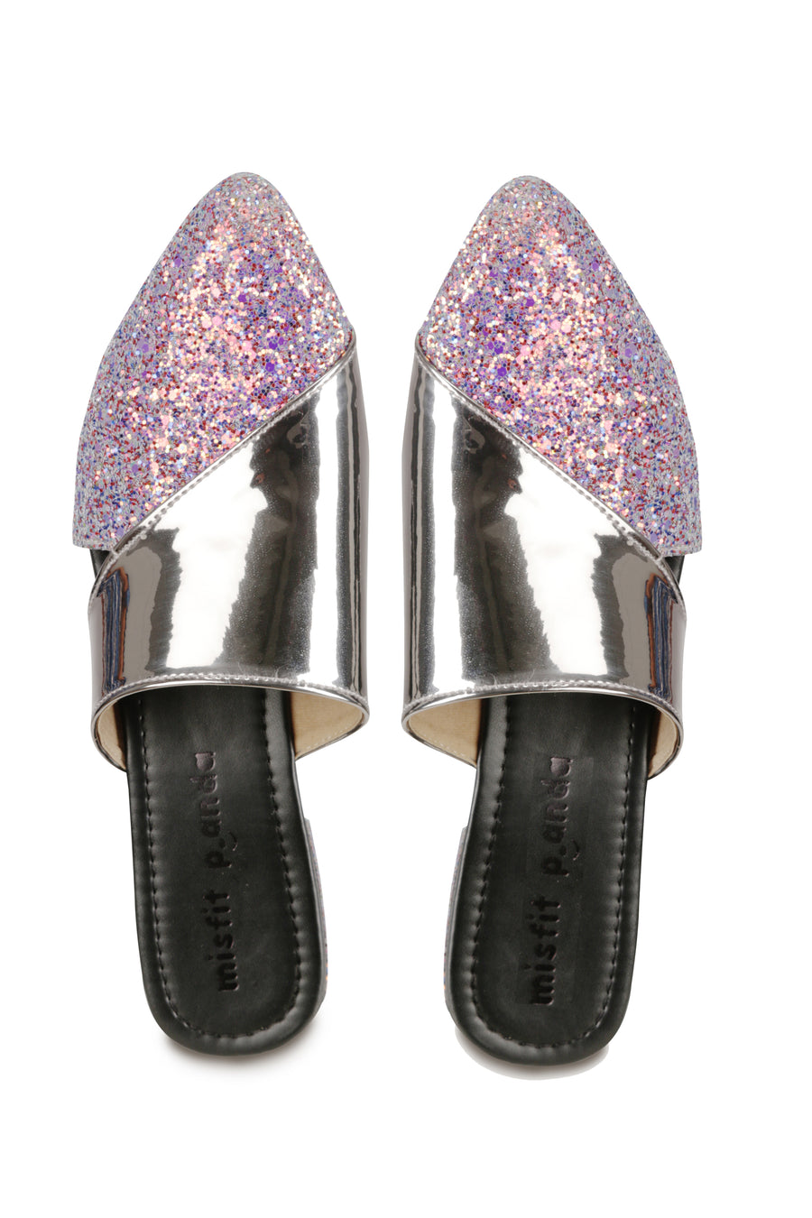 Pink shimmer with gunmetal mules