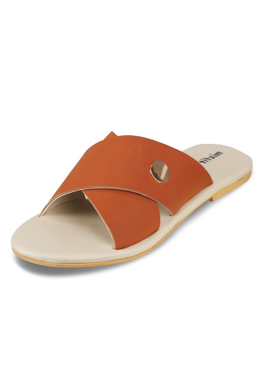 Gold button Cross Strap Sliders
