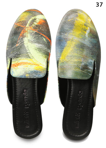 Hand painted Canvas Slip-On Mules