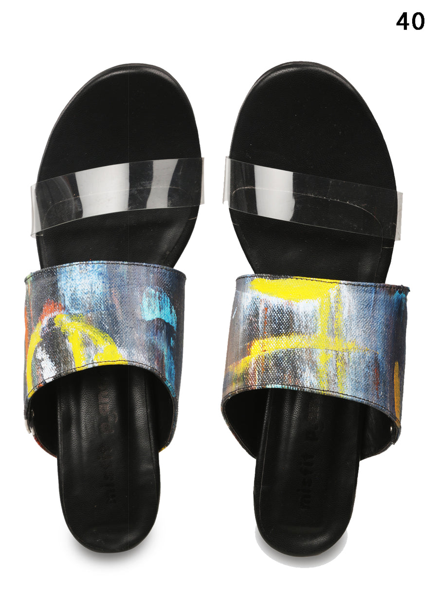 Handpainted Canvas 2 Strap Heels