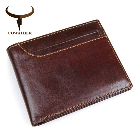 COWATHER 2019 100% top layer cow leather men wallets