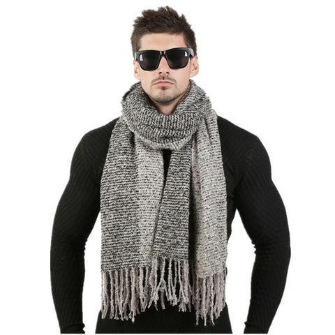 Men's Winter Wool Knitted Cashmere Scarf and scarf