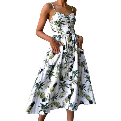 Women  Printing Buttons Off Shoulder Sleeveless Dress Princess Dress