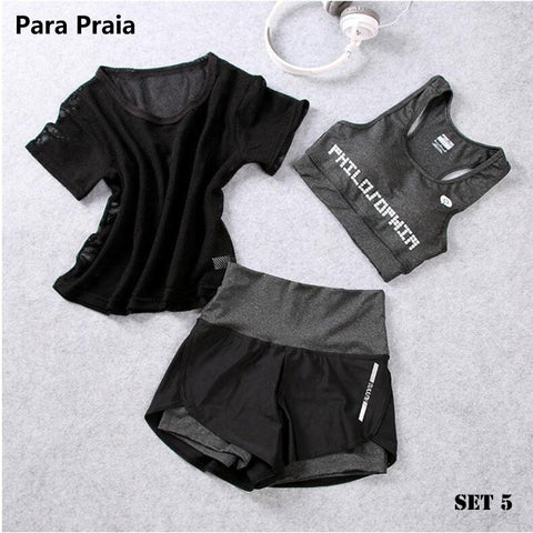 High Waist Three Piece Yoga Set Sportswear for Women Sports