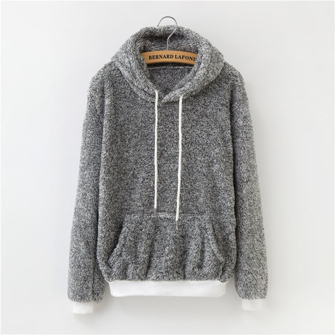 Winter Pink Gray Pullover Thick Loose Women Sweatshirt