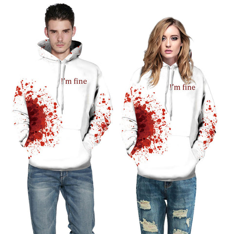 Halloween Women Men Blood 3D Printing Long Sleeve Hoodie Sweatshirt Pullover Top