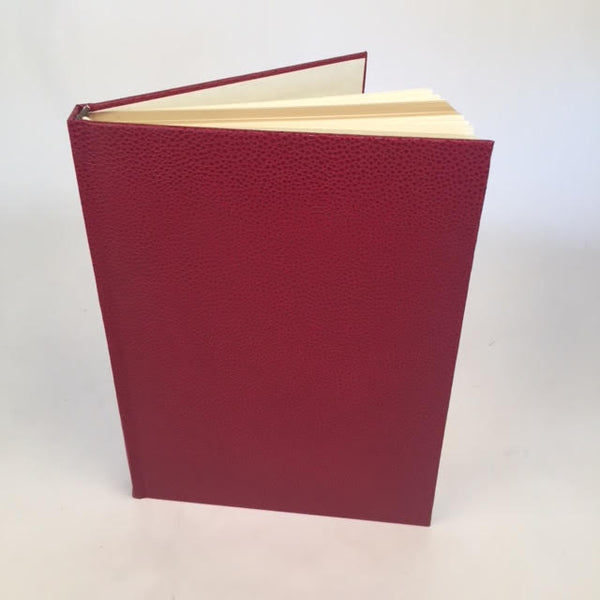 Custom Book Sample | 9.5 by 7.2 Inches | Scarlet Red Colour | Bumpy Textured Cover | Lined Pages | Gilt Edges | Ribbon Marker