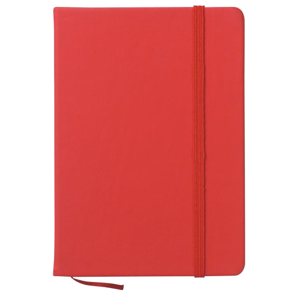 Custom Book | Promotional Quality | 10 by 8 Inches | Scarlet Red Colour | Smooth, Soft Artificial Leather Cover | Lined Pages | Ribbon Marker
