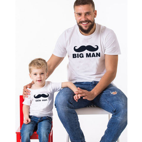 Mustache  Big Man Little Man Dad Son Matching T-Shirts