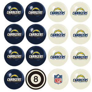 NFL Los Angeles Chargers Pool Balls - Home/Away Set