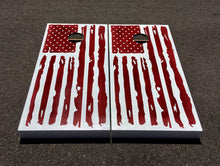 AZBS White on Red Distressed Flag Cornhole Board