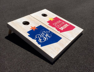 AZBS Beer Me! White Stain Cornhole Board