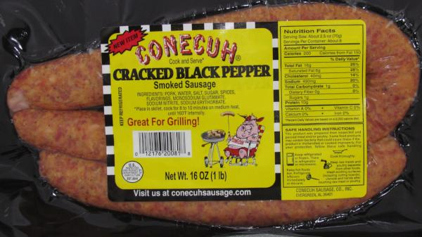Cracked Black Pepper 12-1 lb Smoked Sausage