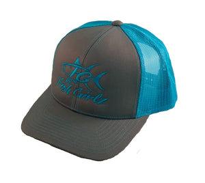 """Fish Girlz"" Adult Trucker Hat - Embroidered with graphite front and neon blue back"