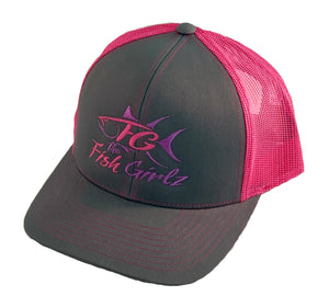 """Fish Girlz"" Adult Trucker Hat - Embroidered with graphite front and pink back"