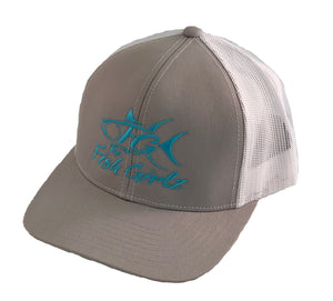 """Fish Girlz"" Adult Trucker Hat - Embroidered with graphite front and white back"