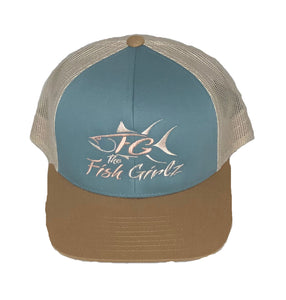 """Fish Girlz"" Adult Trucker Hat - Embroidered with smoke blue front/amber gold bill and beige back"