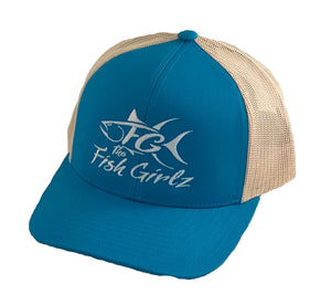 """Fish Girlz"" Adult Trucker Hat - Embroidered with panther teal front and beige back"