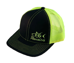 """Fish Guyz"" Adult Trucker Hat - Embroidered with black front and neon yellow back"