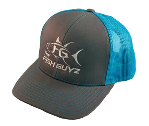 """Fish Guyz"" Adult Trucker Hat - Embroidered with graphite front and neon blue back"
