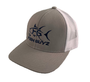 """Fish Guyz"" Adult Trucker Hat - Embroidered with graphite front and white back"