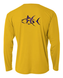 Tigers' Gold Long Sleeve shirt with Purple/Black Fish Guyz Logo