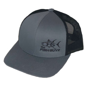 "Adult ""Fish Guyz"" Trucker Hat - Embroidered with graphite front and black back"