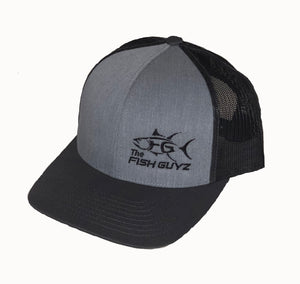 "Adult ""Fish Guyz"" Trucker Hat - Embroidered with heather/grey front and charcoal back"