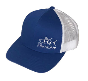 "Adult ""Fish Guyz"" Trucker Hat - Embroidered with royal blue front and white back"
