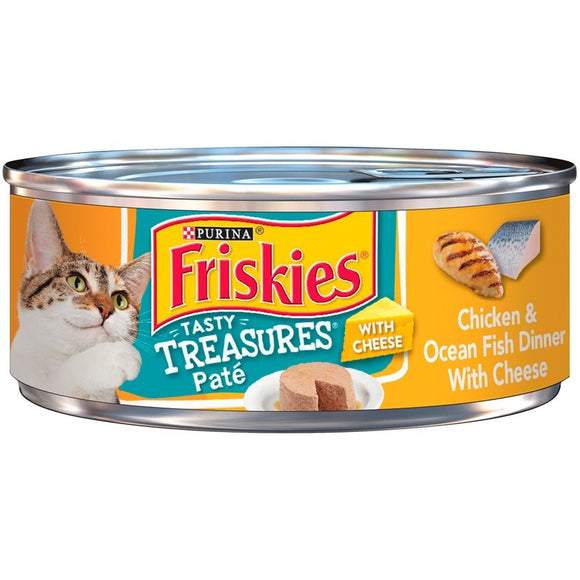 Friskies Tasty Treasures Pate Chicken and Ocean Fish Dinner with Cheese Canned Cat Food