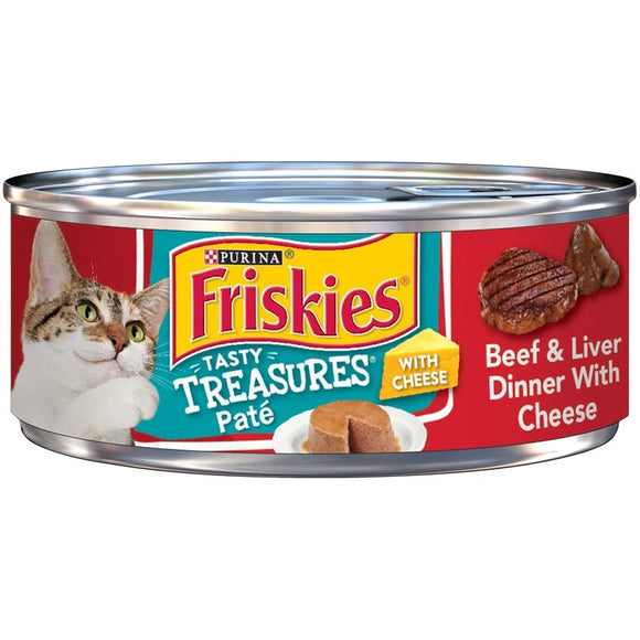 Friskies Tasty Treasures Pate Beef and Liver Dinner with Cheese Canned Cat Food