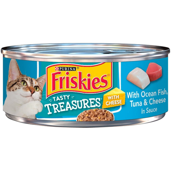 Friskies Tasty Treasures with Ocean Fish Tuna and Cheese Canned Cat Food