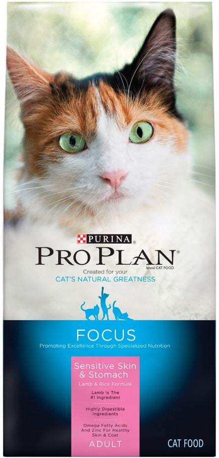 Purina Pro Plan Focus Adult Sensitive Skin and Stomach Lamb and Rice Formula Dry Cat Food