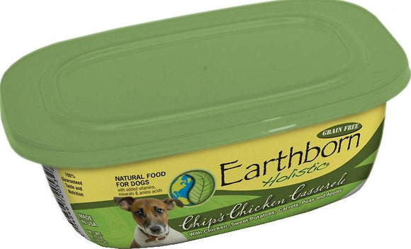 Earthborn Holistic Chip's Chicken Casserole Gourmet Dinners Grain Free Moist Dog Food Tubs