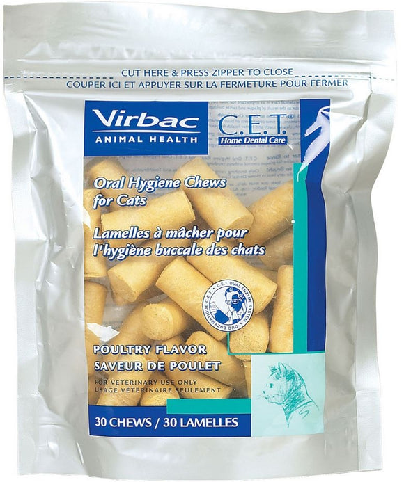 Virbac C.E.T. Poultry Flavor Oral Hygiene Chews for Cats