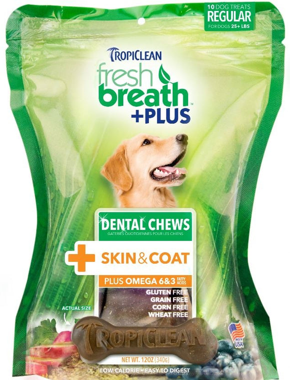 Tropiclean Fresh Breath Plus Skin and Coat Dental Treats for Dogs