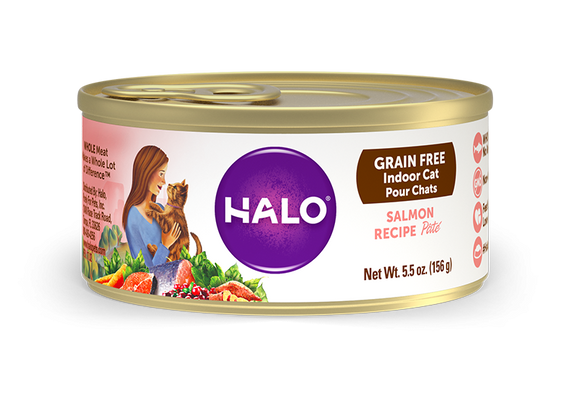 Halo Grain Free Indoor Cat Salmon Pate Canned Cat Food