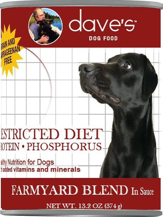 Dave's Restricted Diet Protein Phosphorus Grain Free Farmyard Blend in Sauce Canned Dog Food